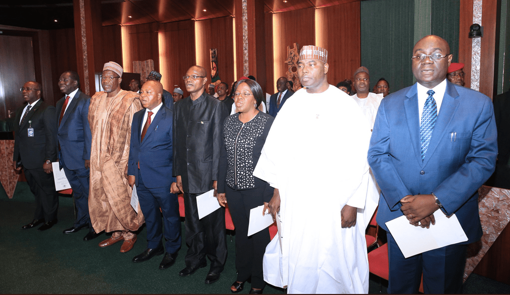 Buhari swears in eight new permanent secretaries