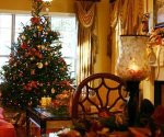 Room decorated for Christmas holidays.