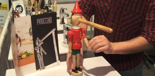 Moving the arms of Pinocchio faucet to turn water on and off.