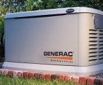 Generac Guardian standby generator in backyard.