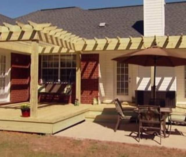 Completed Wood Pergola Shade Arbor On Back Of Brick House