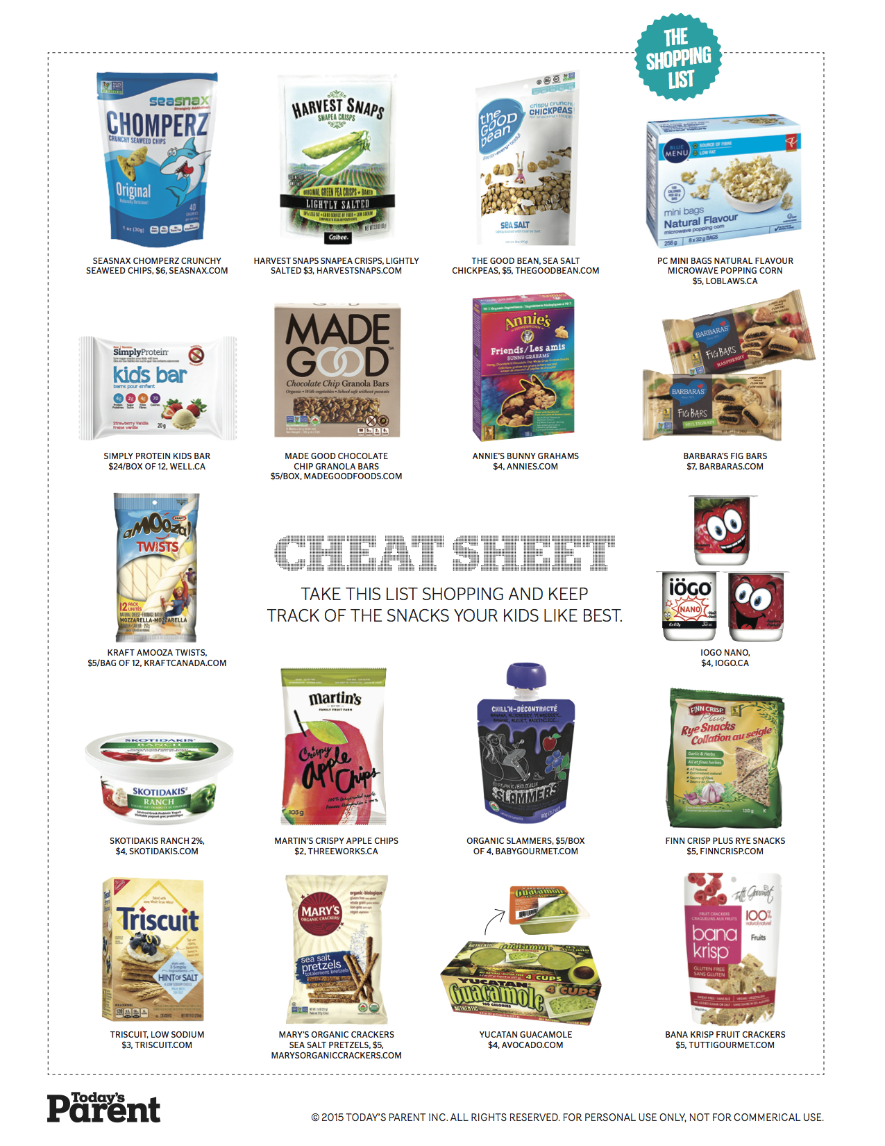 Print This Healthy Store Bought Snacks Shopping List