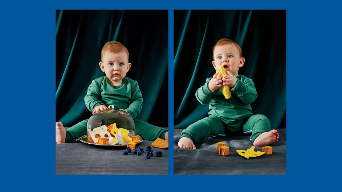Two photos of a baby sitting with a plate of felt food looking unsure for a guide to feeding your kids