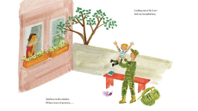illustration from Meghan Markles' Childrens book showing a dad holding his child after coming back from the military. A mom watches from the nearby window