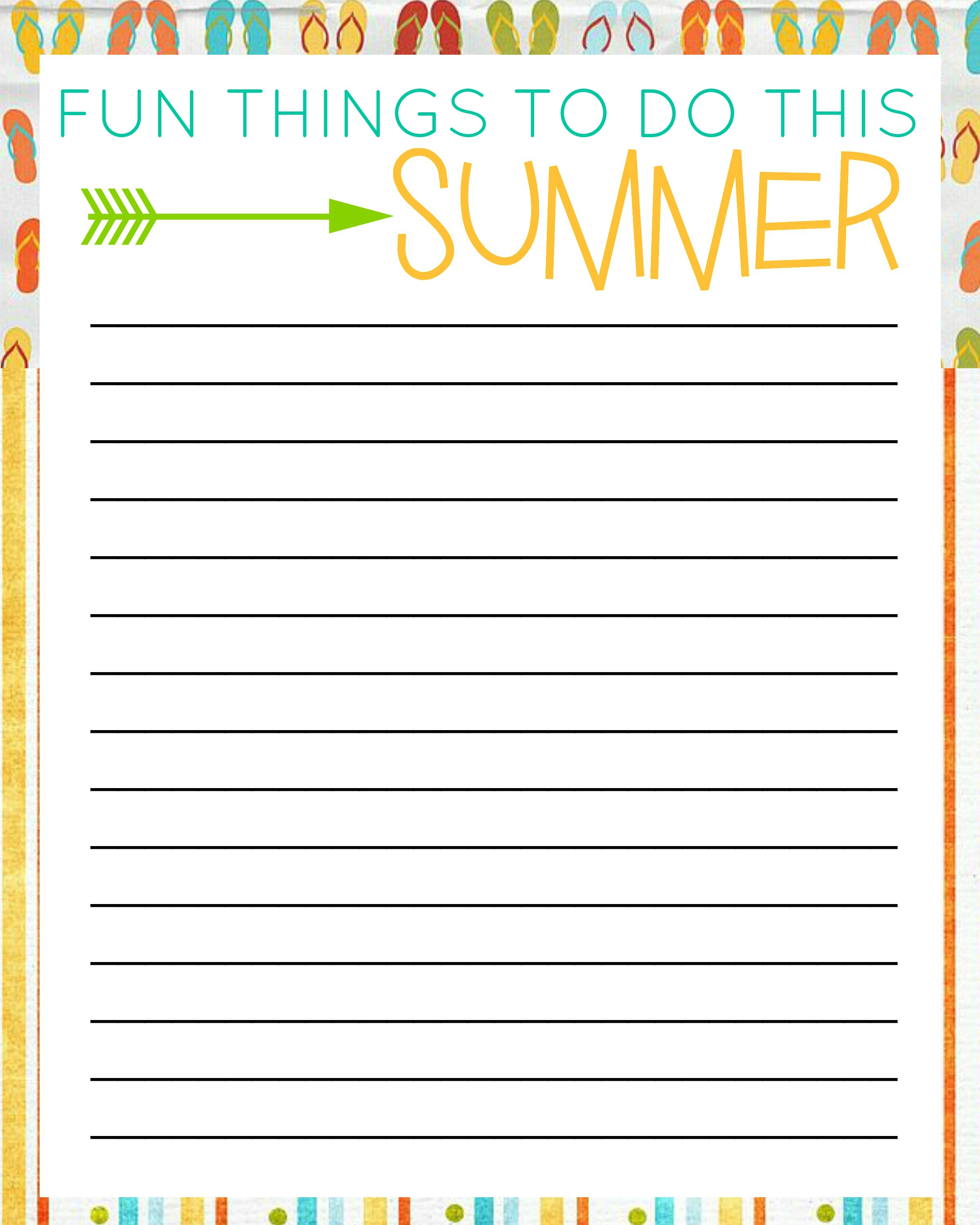 50 Things To Do This Summer With Free Printable Bucket