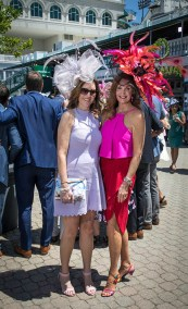 Kim Hartlage and Michelle Owings of Louisville steal the show in the paddock in fascinators from Dee's.