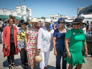 Left to right: Gerri Tucker, Ricann Chargios, Opal Sims, Cheri Jenkins, Wendilyn Washington, AlMaree Owens, from Austin, Texas, were decked out for Derby.