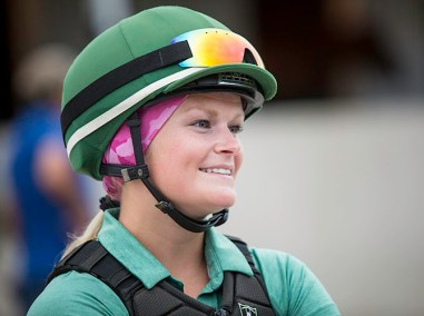 Exercise rider Alisa Morrison is one of the small circle of women working Derby week on the backside.
