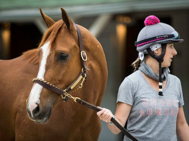 Exercise rider and local Pilates instructor, Jo Trout, has ridden for Bill Mott for years.