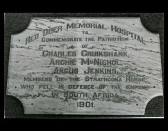 Memorial Hospital Plaque for those lost in the Boer War