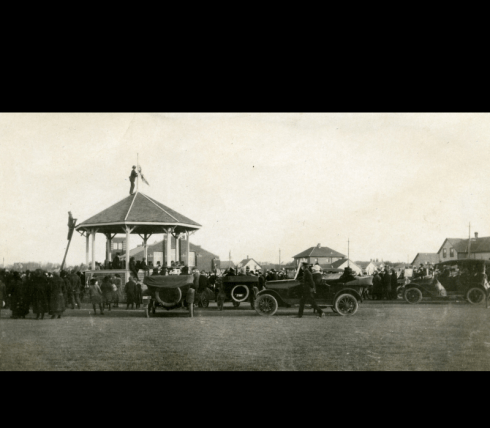 Crowd gathered on Red Deer City Square (now City Hall Park) to celebrate the end of the First World War, November 11, 1918 Photo