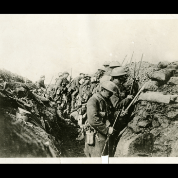 """Canadians getting ready to """"go over the top"""" in the trenches along the Western Front during the Battle of the Somme, 1916"""