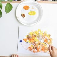 Fork Stamped Hedgehog Craft