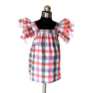 Checks frock with tassel