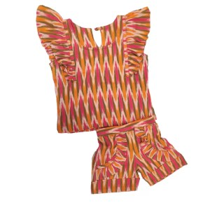 Ikat orange multi Shirt and shorts