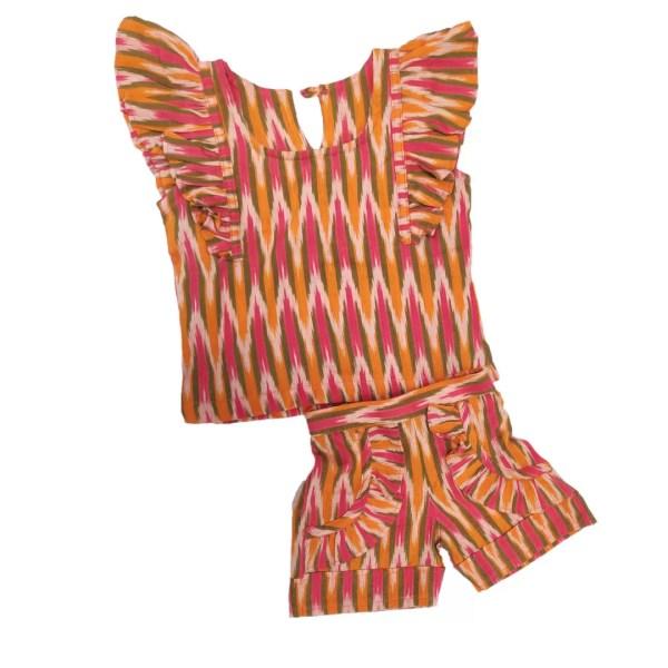 Ikat orange multi Shirt and shorts