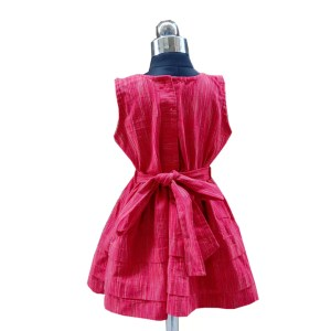 red plain frock back