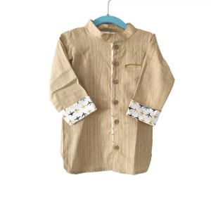 Kids Yellow Linen Cotton shirt with contrast cuff