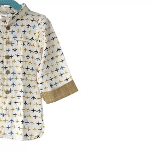 Kids Shirt White | Yellow Aeroplane Cotton Linen Shirt