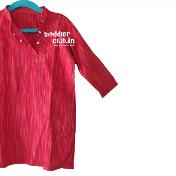 Kids Red side button Linen Kurta