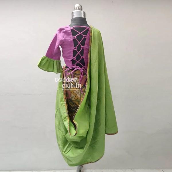 magenta green floral back