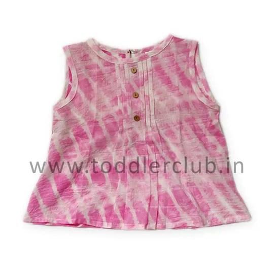 Kids White|Pink Shibori Mal Cotton Top