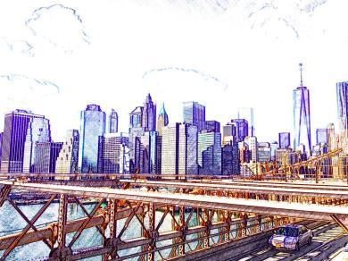 Brooklyn Bridge view of Manhattan