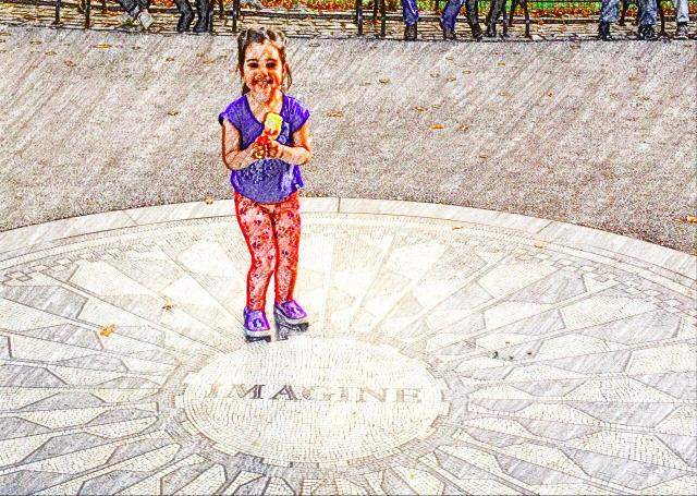 T standing on the Imagine mosaic at Strawberry Fields, Central Park