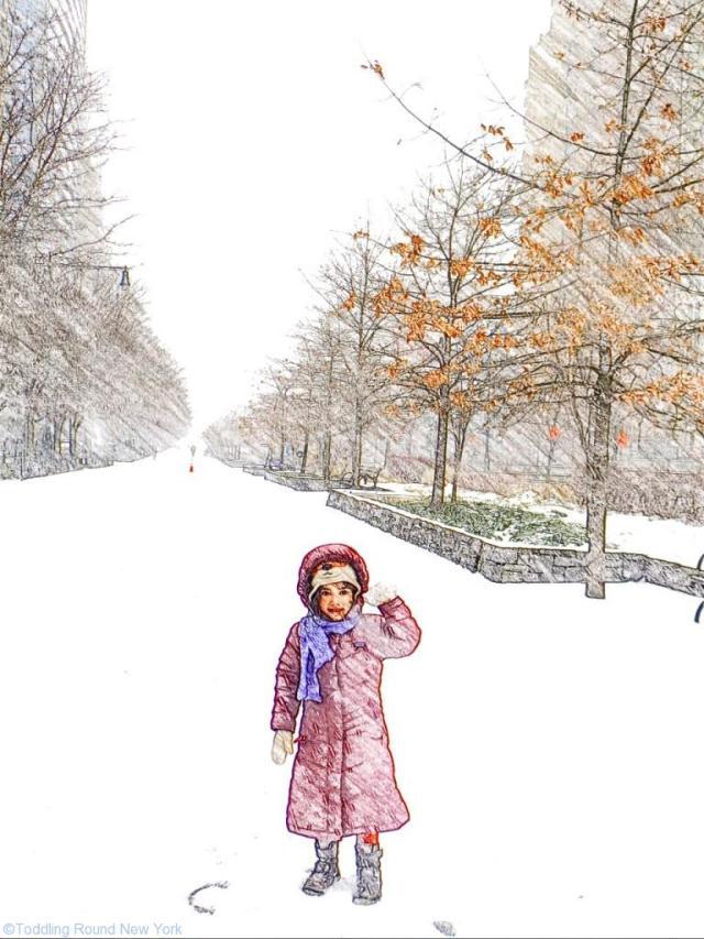 T adoring the walk home through the snow