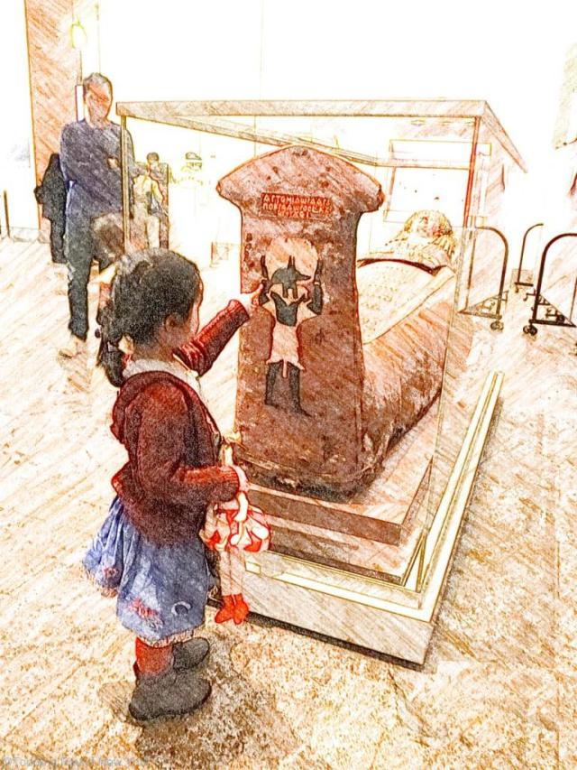 Checking the Egyptian Mummy is safely behind glass