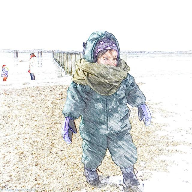 Looking for seashells on the frozen beach