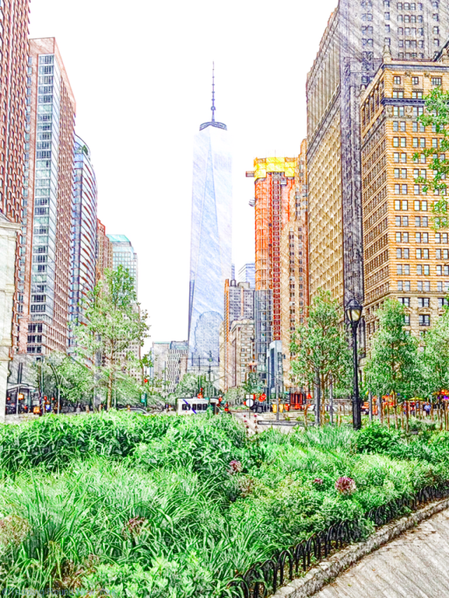 Battery Park - West Street dividing it from Fidi, One World Trade Center
