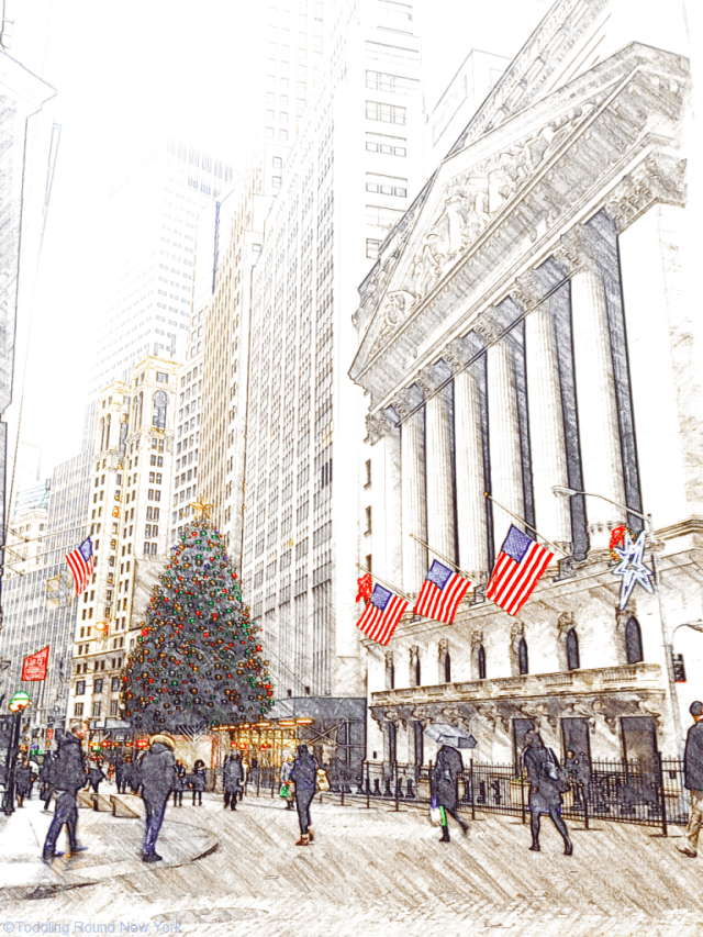 Christmas comes to the New York Stock Exchange on Broad Street and Wall