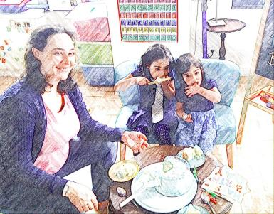 B, T & Me eating blue birthday cake