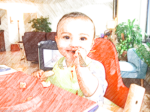 J tucking in to his lunch. Baby Led Weaning.