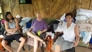 Easton, Dave, and Miriam enjoying coffee