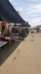 Farmer's market vendors lined along street