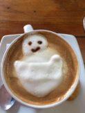 Cappuccino art at Hola Ola's