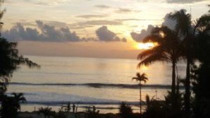 beach view outside of olon ecuador