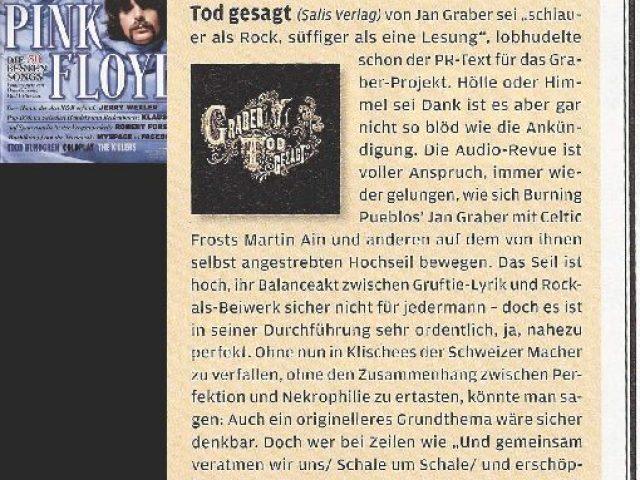 Plattenbesprechung «Tod gesagt» im Rolling Stone, November 2008.