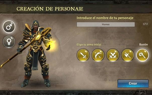 Dungeon Hunter V selección arma bastón Hombre