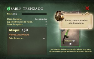 Dungeon Hunter V comprueba las características de tu arma