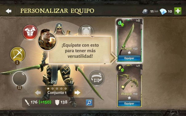 Dungeon Hunter V equipate un nueva arma