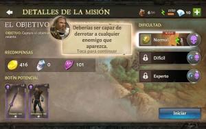 Dungeon Hunter V tutorial modo campaña escoge dificultad derrotalos