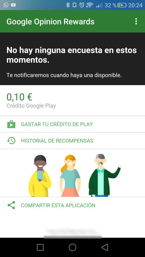 Google Opinion Rewards credito ganado