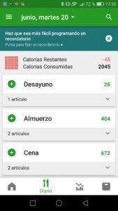 FatSecret exceso calorías diarias