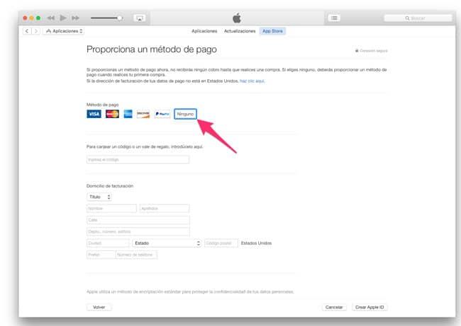 Modo de pago en la App Store