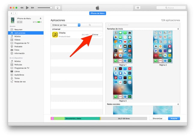 Uninstall apps from iTunes