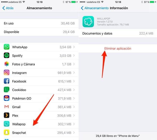 Delete iPhone app from Settings