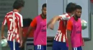 VIDEO: Enfado y balonazo de Joao Félix al ser sustituido
